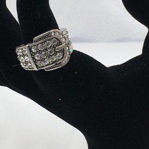 Premier Designs Ring Buckle Silver Cubic Zirconia